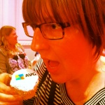 Caz and an AVG cupcake